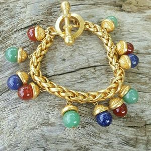 Vintage French gold toggle bracelet